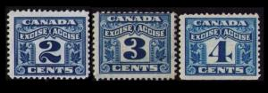 CANADA REVENUE 1915 2c #FX36 3c FX38 4c FX39 SET 3 USED VINTAGE EXCISE TAX STAMP