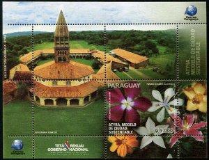HERRICKSTAMP NEW ISSUES PARAGUAY Sc.# 3074 Atyra City - Flowers S/S