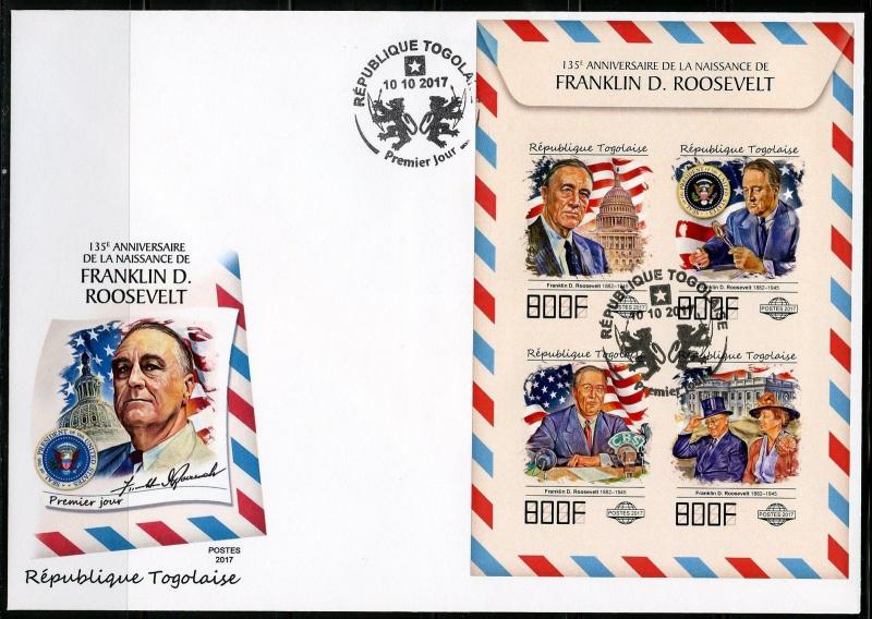 TOGO 2017 135th BIRTH OF FRANKLIN D ROOSEVELT  IMPF SHEET  FIRST DAY COVER