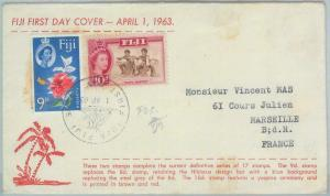 82609 - FIJI  - Postal History -  Official FDC COVER 1963:  definitive set DANCE