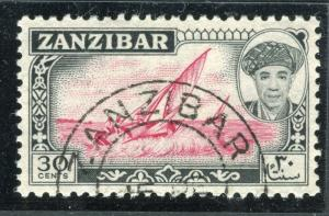 ZANZIBAR;  1961 early Sultan Khalifa issue fine used 30c. value