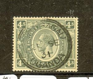 KENYA UGANDA   (P0910B) KGV 4/-  SG91A  SON  CDS  VFU