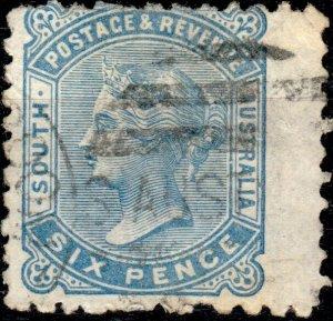 SOUTH AUSTRALIA - 1887 - SG185 6d pale blue p.10 - Very Fine Used