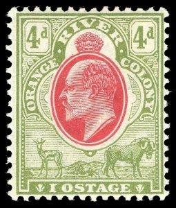 Orange Free State KEVII 1903 4d IOSTAGE for POSTAGE ERROR vfm. SG 144a.
