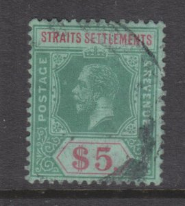 STRAITS SETTLEMENTS, 1915 KGV, Mult CA $ 5.00 Green & Red on Green, used.
