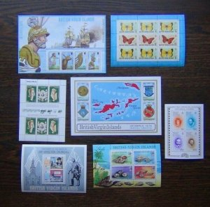 British Virgin Islands 1974 1978 7 x M/S Butterflies Ships Churchill Shells MNH