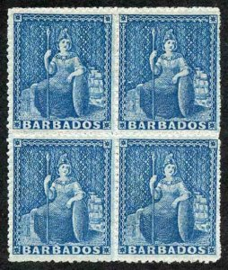 Barbados SG24 1861-70 (1d) Deep Blue no wmk Rough perf 14 to 16 MINT block of 4