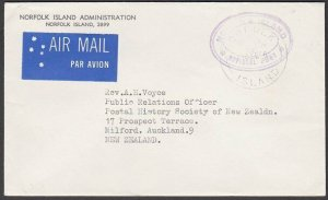 NORFOLK IS 1978 Official cover to New Zealand...............................M636