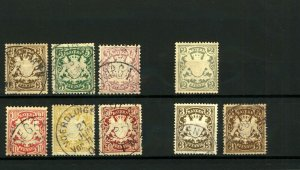 Germany Bavaria 1876 Arms Range of Issues Perf cv£40+ (9) Mint and VFU Stamps