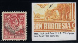 Northern Rhodesia, SG 29b, used Tick Bird Flaw variety