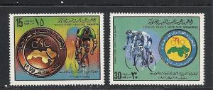 Libya #840-1 comp mnh cv $.75 Bicycle Racing
