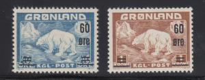 Greenland Sc 39-40 MNH. 1959 Surcharged Polar Bears cplt VF