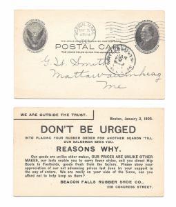 UX18 Boston MA to Mattawamkeag ME Beacon Falls Rubber Shoe 1905 Advert Card