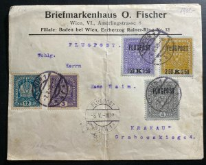 1918 Vienna Austria to Krakow Poland Early Airmail Commercial Cover # C1-C3