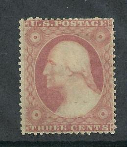 26 Unused,  Claret Shade,  3c. Washington,   scv: $160