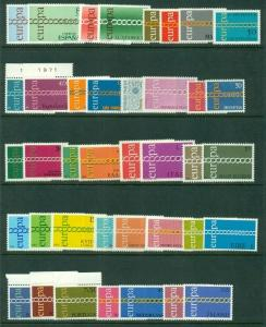 EUROPA 1971 Complete Yearset NH 21 countries Scott $83.45