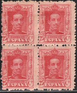 SPAIN 338, 25cs BLOCK OF 4, MINT/UNUSED. F-VF. (226)