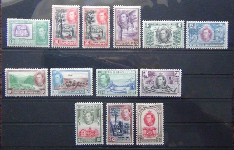 British Honduras 1938 - 47 set complete to $5 LMM SG150 - SG161 Cat £190