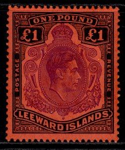 LEEWARD ISLANDS GVI SG114c, £1 violet & black/scarlet, M MINT. Cat £35.