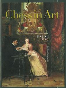 PALAU 2014 CHESS IN ART SOUVENIR SHEET