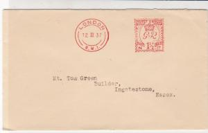 England 1937 Nettlefold & Sons Ltd London Embossed Bk Meter Mail Cover Ref 31829