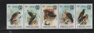 SWAZILAND 427 Strip of 5, Hinged, 1983 Bearded Vulture