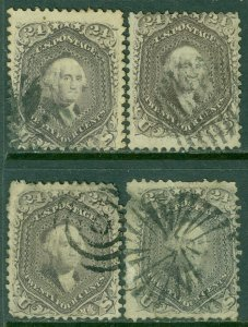 EDW1949SELL : USA 1862 Scott #70. 4 stamps. Used. Nice fronts. Catalog $1,200.00