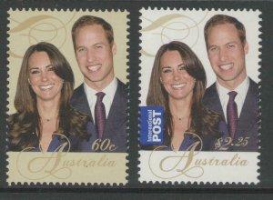 AUSTRALIA SG3588/9 2011 ROYAL WEDDING MNH