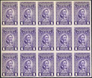 PUERTO RICO RE33//51, XF NGAI 16 DIFFERENT BLOCKS OF 15