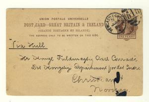 GB - QV 1890 1d POSTAL CARD NEWCASTLE TO CHRISTIANA (OSLO), NORWAY VIA HULL