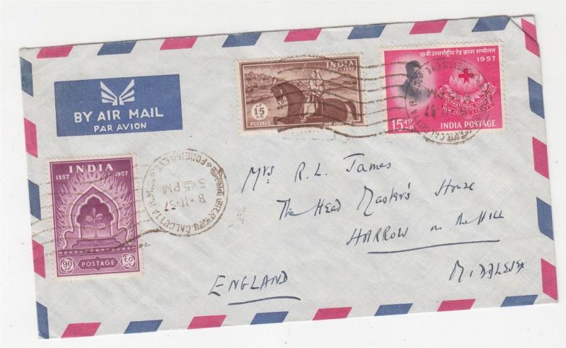 INDIA, 1957 Airmail cover to GB, Indian Mutiny pair & Red Cross 15np.