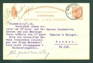 Denmark. 1916 Stationery Commercial. King Chr.10 Ore. Adr: Germany.See Condition