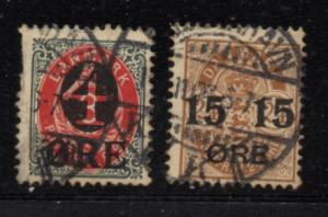 Denmark Sc 55-6 1904-12 overprint stamp set used