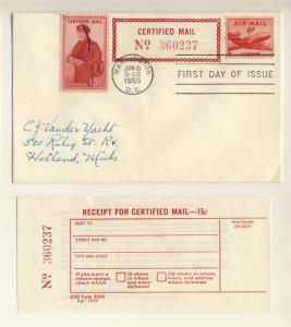 US - 1955 - Scott FA1 FDC (+ C39) 15c Certified Mail (with receipt)
