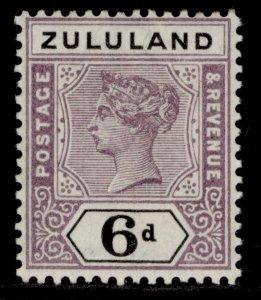 SOUTH AFRICA - Zululand QV SG24, 6d dull mauve & black, LH MINT. Cat £20.