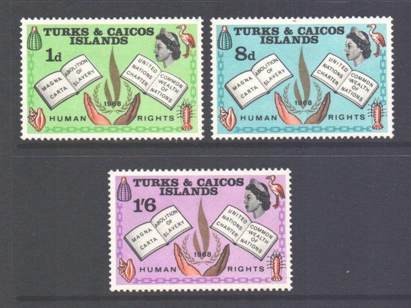 Turks Caicos Scott 175/177 - SG291/293, 1968 Human Rights Set MH*