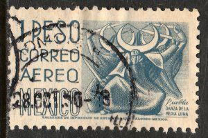MEXICO C195, $1P 1950 Definitive wmk 279 Used. F-VF. (946)