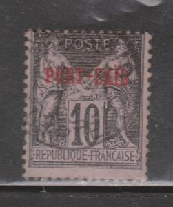 PORT SAID Scott # 6 - Used - Early verprint On French Stamp