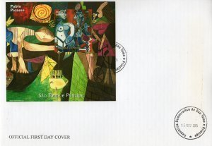 Sao Tome & Principe 2005 Pablo PICASSO Paintings s/s Imperforated in FDC