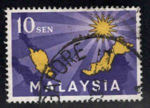 Malaysia Scott 1 Used First stamp, vertical crease at left