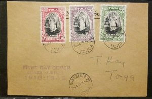 Tonga  FDC 1943 Jubilee Cover 3 stamps - local use
