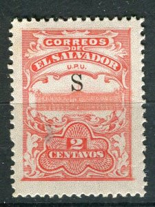 SALVADOR; 1915-16 Unissued Remainders ' S ' Optd fine Mint hinged 2c. value