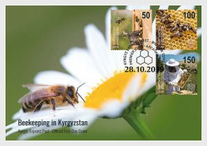 2019    KYRGYZSTAN  -  HONEY BEES   - MAXI CARD FIRST DAY STAMPED