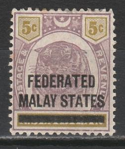 FEDERATED MALAY STATES 1900 TIGER NEGRI SEMBILAN OVERPRINTED 5C