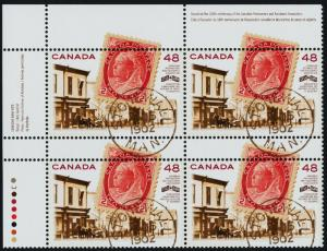 Canada 1956 TL Plate Block MNH Stamp on Stamp, Queen Victoria