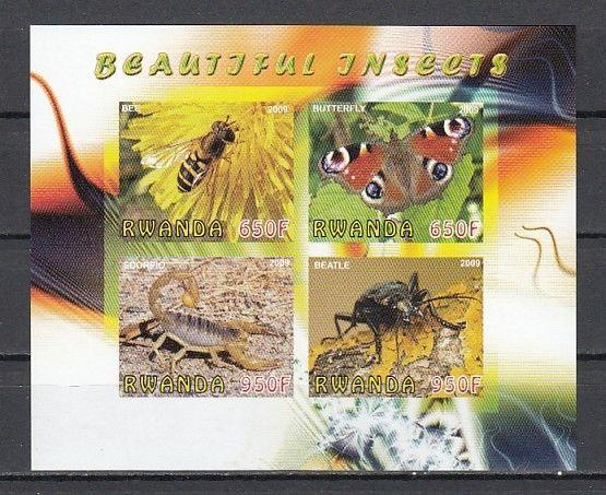 Rwanda, 2009 Cinderella issue. Insects as Butterfly & Bee, IMPERF sheet.