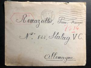 1941 Bordeaux France Cover to Stalag VC Germany Pow Prisoner of war camp