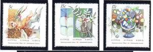 Cyprus Sc 696-8 1987 Christmas stamp set mint NH
