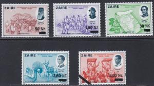 Zaire # 1408-1412, Surcharged Stamps, NH, 1/2 Cat.