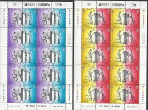 Great Britain-Jersey # 203a,205a Europa perf 14½ x15  SHEETS (2) Mint NH
